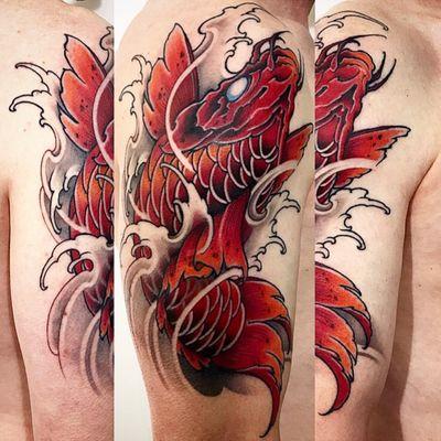 Amsterdam Tattoo1825 Kimihito, Koi fish Tattoo , Netherlands Japanese style Tattoo artist. #koi #koifish #koifishtattoo