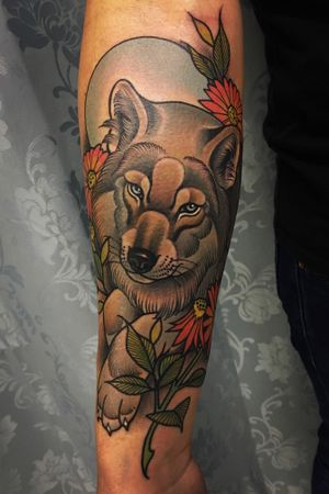 #neotraditional #wolftattoo on Brendan done @goodthingstattoo