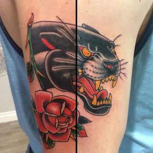 #traditionaltattoo #blackpanther #pantherhead #panthertattoo #traditional #tattoo #traditionalsleeve #sleeve