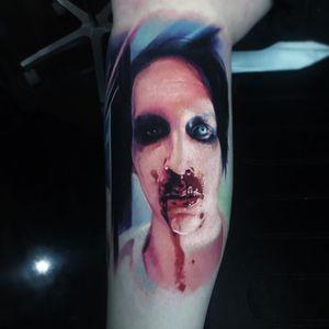 Marilyn Manson tattoo by Paul Acker #PaulAcker #metaltattoos #color #realism #realistic #hyperrealism #portrait #MarilynManson #musician #metal #newmetal ##industrialmetal #goth #blood #bloodynose