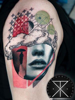 Tattoo by Chris Rigoni #ChrisRigoni #realism #realistic #hyperrealism #blackandgrey #color #abstract #shapes #mashup #portrait #lady #ladyhead #cloud #rain #umbrella #pattern #ornamental #illustrative