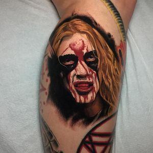 Dead from Mayhem. Tattoo by Ick Abrams #IckAbrams #metaltattoos #realism #realistic #hyperrealism #Dead #Mayhem #blackmetal #norwegian #corpsepaint #blood #splatters #portrait #musician #rip #memorial