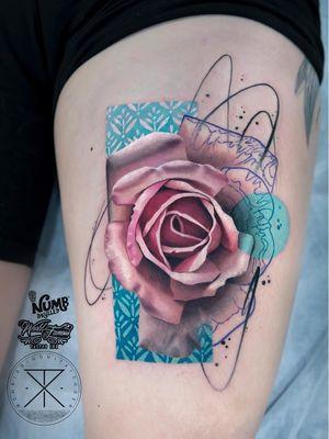Tattoo by Chris Rigoni #ChrisRigoni #realism #realistic #hyperrealism #blackandgrey #color #abstract #shapes #mashup #rose #flower #floral #pattern #illustrative #splatter #painterly