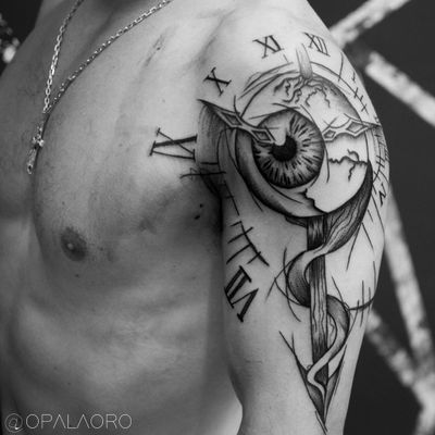 #eye #eyeball #clock #watch #spear #black #blackwork #onlyblack #sketch #sketchstyle #creepy #brazil #cwb
