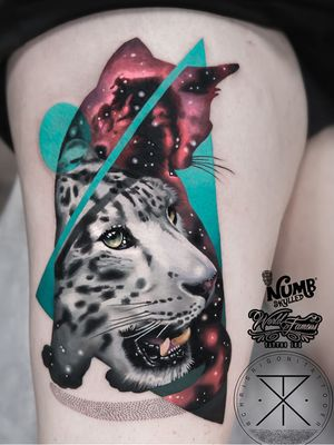 Tattoo by Chris Rigoni #ChrisRigoni #realism #realistic #hyperrealism #blackandgrey #color #abstract #shapes #mashup #snowleopard #cat #junglecat #animal #nature #dotwork #stars #galaxy #solarsystem #stars