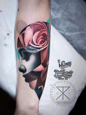 Tattoo by Chris Rigoni #ChrisRigoni #realism #realistic #hyperrealism #blackandgrey #color #abstract #shapes #mashup #portrait #lady #ladyhead #rose #flower #floral