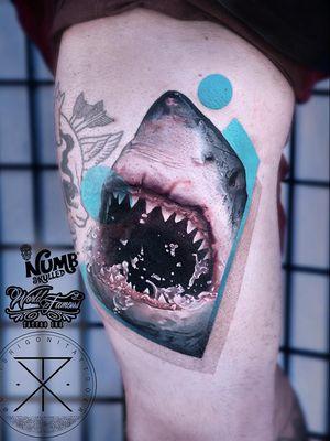 Tattoo by Chris Rigoni #ChrisRigoni #realism #realistic #hyperrealism #blackandgrey #color #abstract #shapes #mashup #Jaws #shark #greatwhiteshark #animal #nature #oceanlife