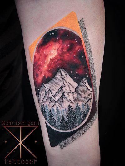 Tattoo by Chris Rigoni #ChrisRigoni #realism #realistic #hyperrealism #blackandgrey #color #abstract #shapes #mashup #landscape #mountaings #forest #illustrative #dotwork #galaxy #solarsystem #stars #nature