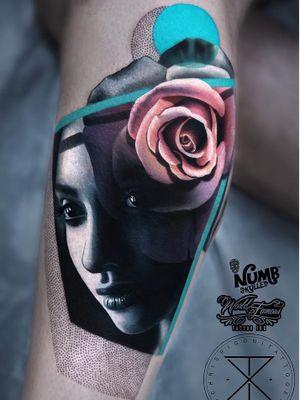 Tattoo by Chris Rigoni #ChrisRigoni #realism #realistic #hyperrealism #blackandgrey #color #abstract #shapes #mashup #portrait #lady #ladyhead #dotwork #rose #flower #floral #beautiful