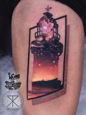 Tattoo by Chris Rigoni #ChrisRigoni #realism #realistic #hyperrealism #blackandgrey #color #abstract #shapes #mashup #silhouette #lightouse #galaxy #solarsystem #stars #landscape #ocean #beach #architecture