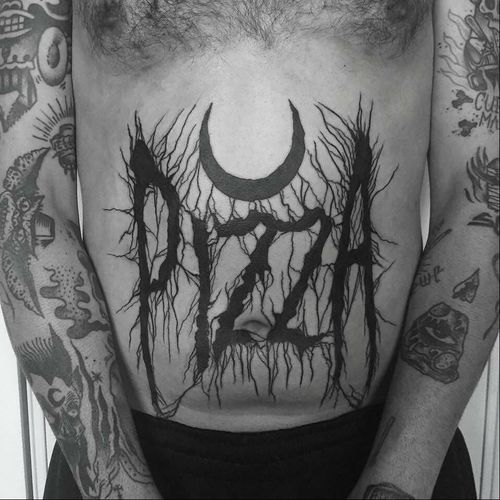 PIZZA METAL tattoo by Matt Chaos #MattChaos #metaltattoos #lettering #blackwork #pizza #moon #blackmetal #darkart #stomachtattoo #