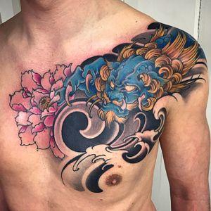 Amsterdam Tattoo1825 Kimihito,                              Foo dog  Tattoo ,                                             Netherlands Japanese style Tattoo artist.                 #foodog #foodog #foodogtattoo