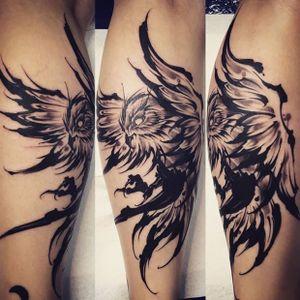 Amsterdam Tattoo1825 Kimihito, Owl Brush stroke,Back Piece Tattoo , Netherlands Japanese style Tattoo artist. #owl #owltattoo #brushstroke #brushstroketattoo