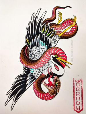 Japanese Crane and snake, Available to be tattooed Could be a one shot or large scale. 📧: ogradytattoo@hush.com