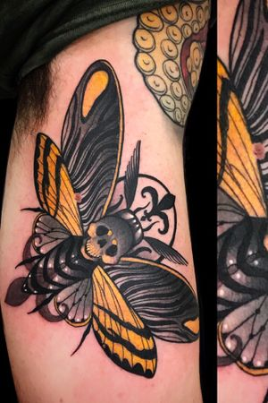 Creepy moth done during my guestspot at Skinwear tattoo shop last week!!
