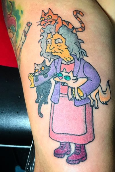 Crazy cat lady from the simpsons #thesimpsons #simpsonstattoo #catlady #cartoons