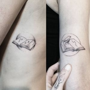 Two friends, two books, two matching tattoos