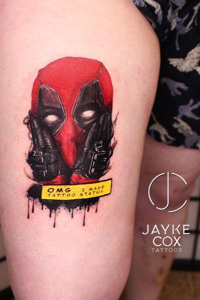'CHIMICHANGASS!!!!!!' A sweet arsed @deadpoolmovie tattoo for @amybabbles Sponsored by @tattoobuzzbalm 🐝 done with @ezcartridgecouk @quantumtattooinks @stencilanchored • #jaykecoxtattoos #diamonddozentattoo #deadpooltattoo #marvel #marveltattoo . . . . . #tattoos #ink #linework #darwen #inkmagazine #tattooart #radtattoos #artist #tattoolife #newink #blackburn #lancashire #tattooedannaked #tattooing #blacktattoomag #inked #skinartmag #blackwork #blackandwhite #silverbackink #blackworktattoo #skinartmag #thebesttattooartists #blackandgreytattoo #blackworktattoo