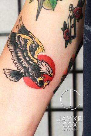 'Don't be afraid of being outnumbered. Eagles fly alone. Pigeons flock together' 🦅🦅🦅 Sponsored by @tattoobuzzbalm 🐝 done with @ezcartridgecouk @nocturnaltattooink @stencilanchored • #jaykecoxtattoos #diamonddozentattoo #oldschooltattoo #oldschool #eagletattoo . . . . . #tattoos #ink #watercolortattoo #darwen #inkmagazine #tattooart #radtattoos #artist #tattoolife #newink #blackburn #lancashire #tattooedannaked #tattooing #blacktattoomag #inked #skinartmag #blackwork #blackandwhite #silverbackink #blackworktattoo #skinartmag #thebesttattooartists #blackandgreytattoo #blackworktattoo • @barber_dts @bnginksociety @tattoolanduk @uktta @tattooculturemagazine @inkcoholics @inksav @inkjunkeyz @silverbackink @skinart_mag @supuerb_tattoos @bnginksociety @inteeze @globaltattoomag @tattoolifemagazine @tattoo_art_worldwide @clean.ink @lifeinked @tattoos_black_and_gray @tattoomad @support_good_tattooing_uk @inked_artists_ @undertheskintattoomagazine @tattooculturemagazine @superb_tattoos