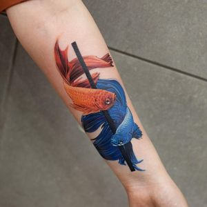 Graceful beings. Tattoo by Pavel Roch #PavelRoch #fishtattoos #color #realism #realistic #hyperrealism #fish #oceanlife #nature #animal #pretty #sparkle #line #betafish