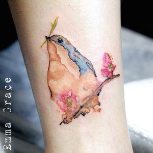 Watercolor bluebird. Tattoo by Emma Grace #EmmaGrace #FleurNoire #Brooklyntattoo #watercolor #bird #bluebird #nature #animal #flowers #floral #painterly #leaves #branch