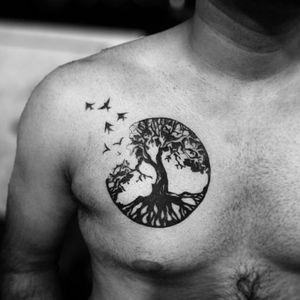 Artist unknown. #treeoflifetattoos #treeoflife #treeoflifetattoo #birds #tree #nature #chesttattoo