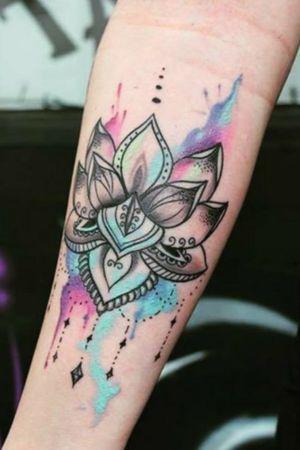 #Watercolortattoo #flowertattoo #flower #colorfultattoo