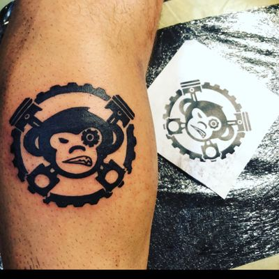 Monkey Garage🐵 #tattoo #monkey #ride #bike #motor #ethernal #black #piston