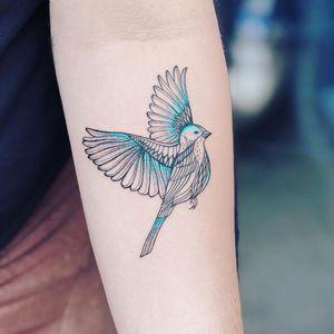 Baby bluebird. Tattoo by Laura Martinez aka nothingwildtattoo #LauraMartinez #nothingwildtattoo #FleurNoire #Brooklyntattoo #illustrative #linework #abstract #shapes #bird #feathers #wings #nature #animal