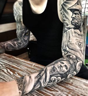 Awesome black and grey sleeve by Lil'B #blackandgret #statue #sleeve#lilb