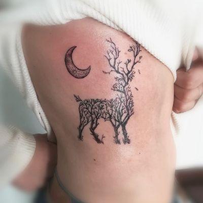 Stag tree moon by K #tattoo #ink #tatttoos #worldfamousink #eikondevice #greenmonster #tattooaddictsouthafrica #gunwax #thelightningstation #tam #tattoodo #inkbe #stag #trees #moon #moontattoo #stagtattoo
