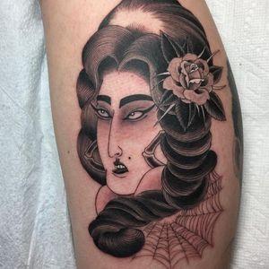 Geisha meets Chola by Acetates #Acetates #mashuptattoos #mashup #blackandgrey #geisha #chola #rose #flower #floral #leaves #nature #spiderweb #portrait