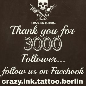 Moin moin, Vielen Dank! Thank you for 3000 #followers on instagram. Follow us on instagram 📸crazy.ink.tattoo.berlin And thanks for the nice comments... . Greets Crazy Team Raik + Sven #followus #follow4follow #followme #followforfollow #followusonfacebook #tattoo #tattoos #berlin #tattooberlin #berlintattoo #tattoomoabit #crazyink #crazyinkberlin #crazyinktattoo #crazyinktattooberlin #tattoist #berlintattooartist #berlintattooartists