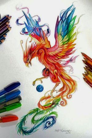 Phoenix , Watercolor