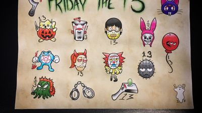 Friday the 13th flash sheet from 2017 #FridayThe13th #tattooflash #pokemon #tattoos #rickandmorty #it #bobsburgers #meatwad #art #tattooart #nashville