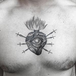 Love's Third Eye Open. Tattoo by Marlon M Toney #marlonmtoney #sacredhearttattoo #heart #swords #knives #knife #tear #thirdeye #allseeingeye #eye #fire #blood #linework #eatching #engraving #illustrative