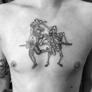 Medieval chest piece  #linework #blackwork
