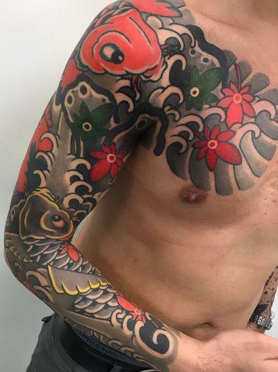 ⚡️Koi Sleeve Done⚡️ #koi #fish #delightneedles #irezumism #ukiyoe #picoftheday #reclaimthedots #kimono #maple #irezumistudy #armor #babe #fashion #japan #japantattoo #dragon #babes #inkedbabes #awesome #best #curves #tattoo #tattoolife #traditional #irezumism #ink #cherryblossom #tattoodo #art #wabori