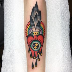 All Seeing Love. Tattoo by Julian Bast #julianbast #sacredhearttattoo #color #traditional #folktraditional #psychedelic #thirdeye #tears #rainbow #fire #heart