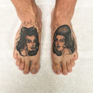 Devil and Angel. Tattoo by Juan Diego aka illegal tattoos #JuanDiego #illegaltattoos #besttattoos #blackandgrey #oldschool #Chicano #illustrative #devil #angel #wings #horns #stars #fire #ladyhead #ladyheads