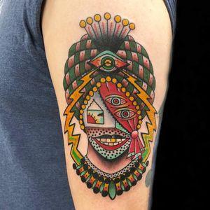 The secrets within the mind. Tattoo by Teide. #Teide #besttattoos #color #newtraditional #surreal #thirdeye #allseeingeye #gypsy #fortuneteller #portrait #lady #ladyhead #lightningbolt