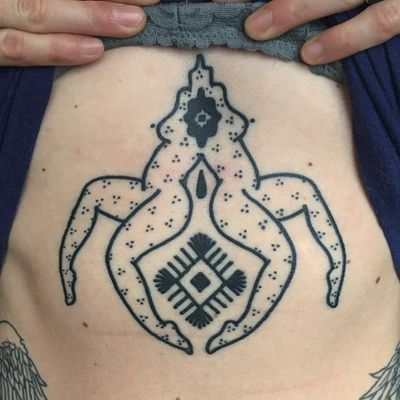 Legs for days. Tattoo by Meg Tuey #MegTuey #linework #dotwork #legs #pattern #surreal #symbol #teardrop #shape #diamond #folktraditional #tribal #body #lady