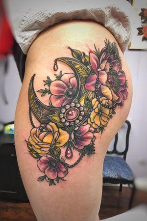 Ornamental thigh gemstone watercolor flower tattoo