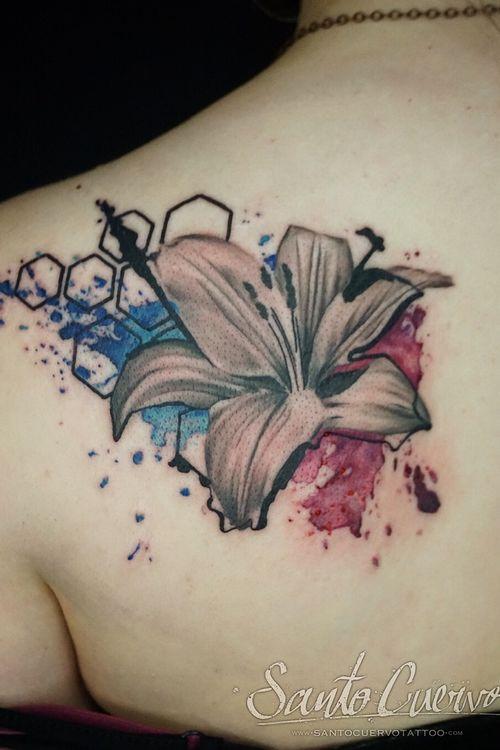 Swipe! #lily #realism #realismtattoo #watercolour #watercolourtattoo #geometry #colour #flowers #tattoo #tattoolondon #tattoolovers #ink #inklife #inked #tattedup #tattooart #tattooartist #tattooing #tattoolife #killerinktattoo  #tattoostudio #vegantattoo #veganink #vegan #london #stokenewington #hackney  #santocuervo