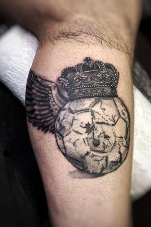 Black and grey soccer futbol crown tattoo