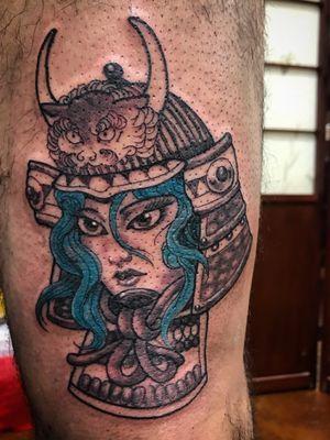 Samurai lady head. #japanesetattoo #asiantattoo #losangeles #blackandgrey