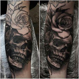 Skull rose tattoo. #skull #rose #oslo #norway