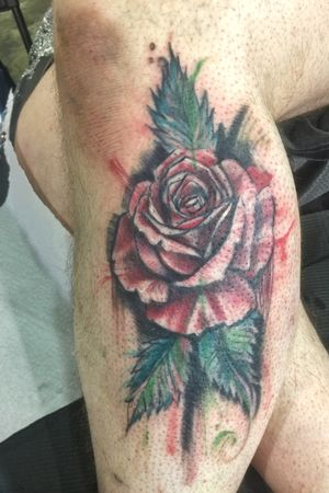 Freehand abstract watercolor rose