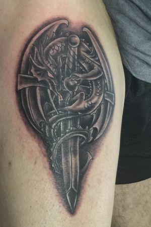 Dragon sword tattoo my hubby loves his midevil stuff!😊🖤