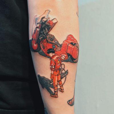 Akira scenes: Kaneda. Tattoo by Mick Hee #MickHee #besttattoos #color #Japanese #anime #manga #Akira #motorcycle #gun #scifi #Kaneda